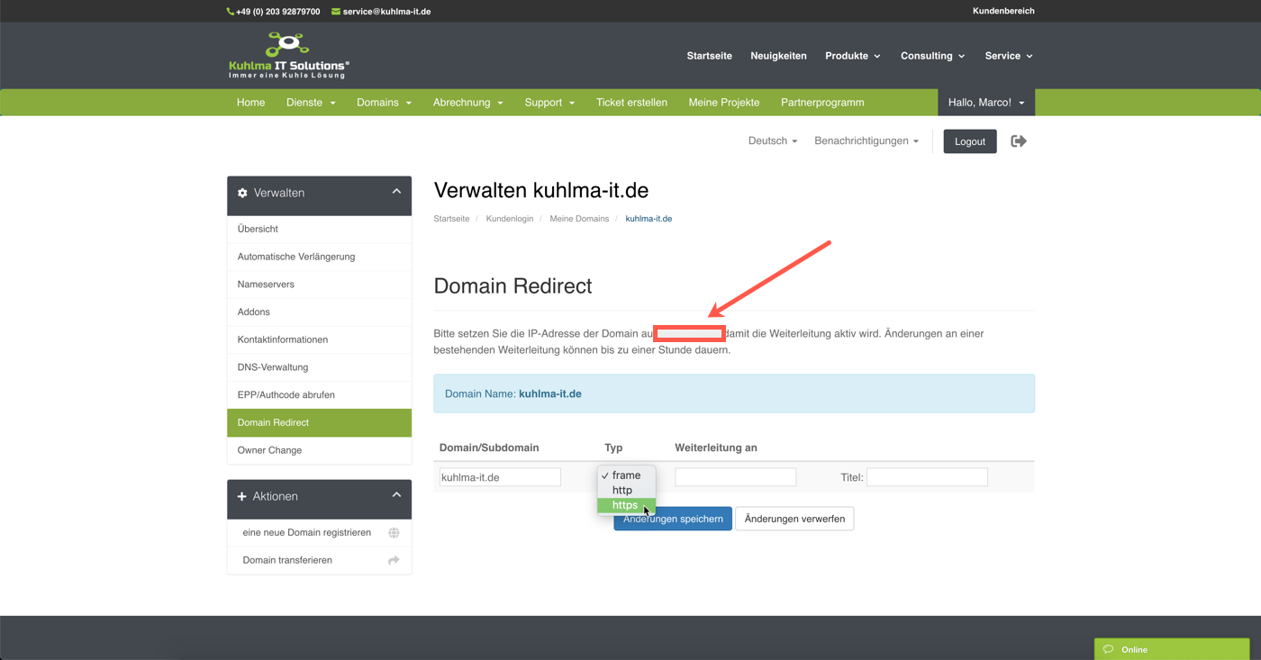 Kuhlma IT Solutions - Domain Weiterleitung